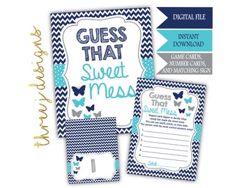 Butterfly Baby Shower Guess That Sweet Mess Game Cards and Sign - INSTANT DOWNLOAD - Navy Blue, Teal and Gray - Digital File - J007
