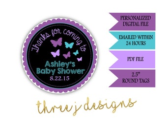 Butterfly Baby Shower Personalized Thank You Favor Tags - Purple and Teal - Digital File - J001