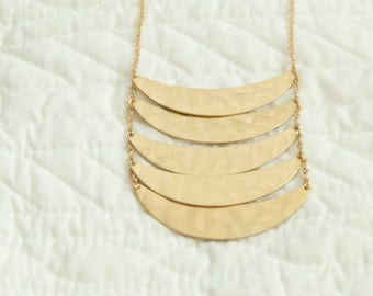 Gold Long necklace with hammered look