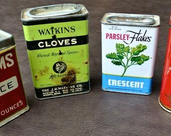 Vintage Tins, Metal Spice Tins, Retro Kitchen Decor, Red Spice Tins, Retro Can Collection, Metal Spice Tins, Instant Collection, Set of 4