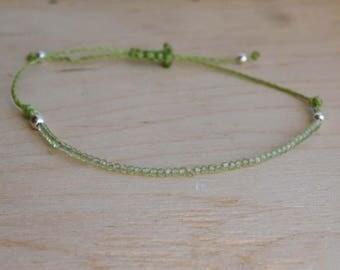 Peridot Bead Bracelet 2mm.