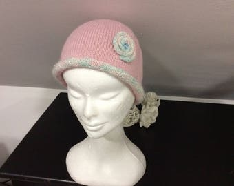 Women knit hat wool edge your glossy pastel pink