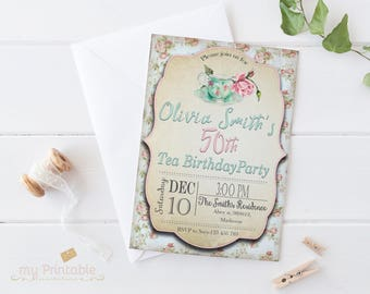 Tea Party Birthday Invitation / Printable, for Adult