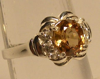 Zircon 1.6 ct Natural  yellow & sterling silver 925 ring size 6.75