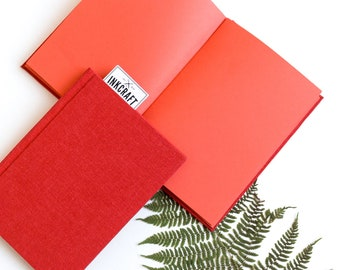 Red paper hardcover notebook -  fabric sketchbook, unlined journal, handmade colorful book for artist, writer, creative gift
