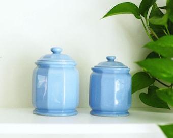 Light blue vintage canisters, light blue jars, coffee and tea storage jars, canister set, vintage storage