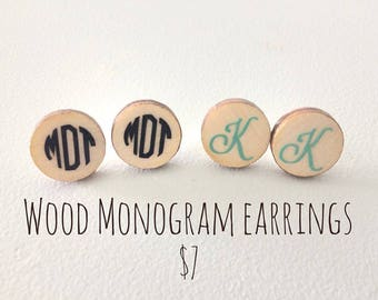 Wood Monogram Earrings