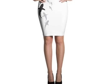 Parade of Sharks Pencil Skirt