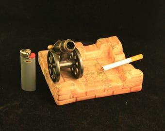Vintage Ceramic Cannon Ashtray