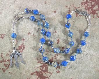 Poseidon Prayer Bead Necklace in Sea Sediment Jasper: Greek God of the Sea, Protector and Patron of Sailors