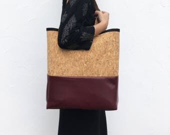 Pb_bag, leather bag in wine and cork color, handmade, tote bag