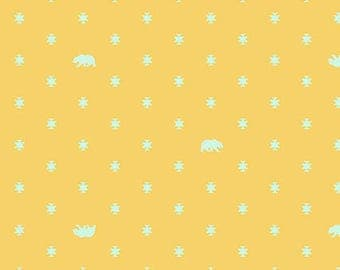 Tula Pink - Spirit Animal - Bear Hug - Sunkiss (bears on yellow) - Free Spirit Fabrics - Fabric By the Half Yard