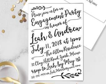 Boho Calligraphy Engagement Party Invitation / Modern Romantic Invite / Neutral Black & White Monochrome ▷Printed Invitations {or} Printable