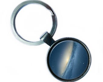 NASA Photograph Blue Galaxy Keychain Keyring