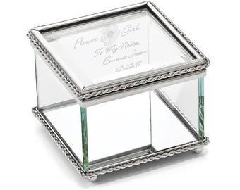 Personalized Engravable Glass Jewelry Box, Beaded Trinket Box, Personalized Glass Jewelry Box, Glass Box, Flower Girl Jewelry Box