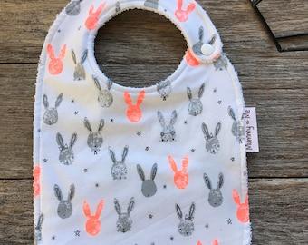 Bunnies / Baby Bib / Bandana Bib / Fluro / Neon / Orange / Funky / Rabbit / Animals / Forrest Animal / Thick / Absorbent