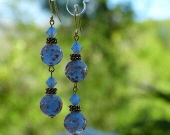 Earrings blue Murano glass light with aventurine beads