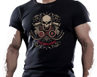The mechanic. Black T-shirt
