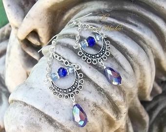 Silver Moon Pagan Earrings, Moon Goddess Earrings, Blue Moon Earrings, Crescent Moon Earrings, Wicca Earrings, Handfasting, Wedding, Bride