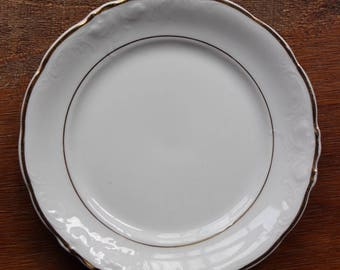 Vintage WAWEL CASA ORO Bread Plate White, Embossed Scrolls, Scalloped - Set of 4