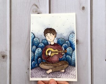 songs in the garden - original watercolor art
