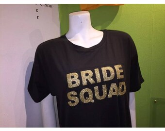 Bride Squad  / Bride  glitter gorgeous hot fix  hen party iron on transfer DIY