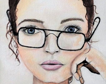 Girl Portrait Woman's Face Acrylic Painting Crooked Glasses Fine Art Print Brown Hair Blue Eyes - 8X 11 inches.
