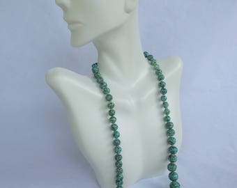 Vintage Venetian Speckled Robin Egg Turquoise Blue Art Glass Bead Necklace