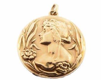 Art Nouveau Lady 10K Gold Locket