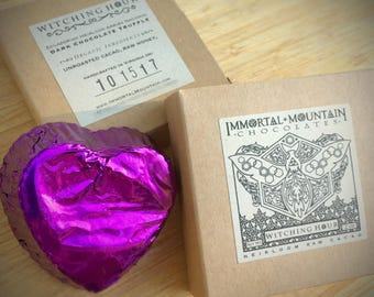 Witching Hour Raw Cacao: two 90% Dark Chocolate Truffles w/ honey & vanilla bean