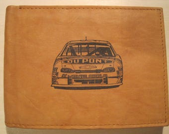 "Mankind Wallets Men's Leather RFID Blocking Billfold w/ ""Jeff Gordon's #24 Dupont Chevrolet""~Makes a Great Gift!"