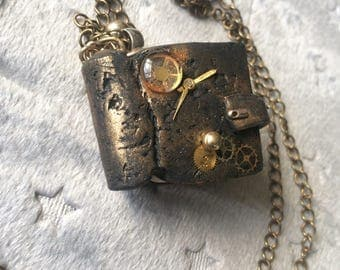 OOAK Steampunk pendant theamed book necklace