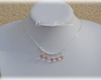 Silver wedding necklace, drop glass - Swarovski crystals - wedding, bridal necklace, silver necklace, glass drops
