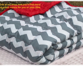 """Weighted Blanket, Grey Chevron, Small weighted blanket (37"""" x 52"""") Teen (40""""x63"""") Twin (40""""x82"""") Cuddly, Soft and Relaxing - Custom Made"""