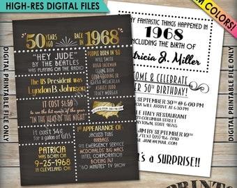 "50th Birthday Invitation, 1968 Invite, Born in 1968 Flashback 50 Years Ago, 50th Invite, 50th Bday 5x7"" Chalkboard Style Digital Printables"