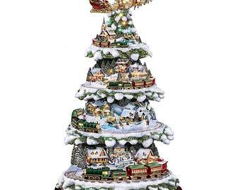 Bradford Exchange Wonderland Express Animated Tabletop Christmas Tree with train by Thomas Kinkade