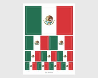 Mexico Flag Weatherproof Sticker Sheet / 10 Flag Stickers Various Sizes