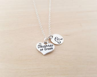 Daughter of Groom Charm - Heart Necklace - Wedding Necklace - Personalized Necklace - Custom Initial Necklace- Silver Necklace