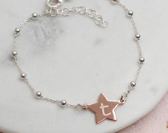 Personalised Gold And Sterling Silver Star Bracelet