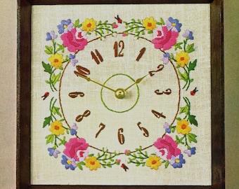 """Bucilla Needlecraft Petit Fleur Vintage Desk Battery Clock Cordless Kit # 2858 Size 8 5/8"""" x 8 5/8"""""""