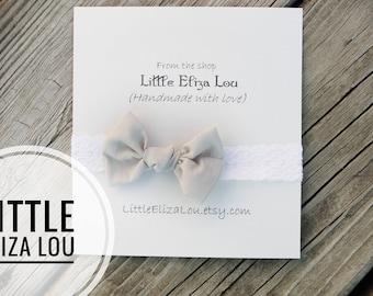 Lace headband / baby girl headbands / ivory lace baby headbands / knotted bow lace headband / Beige knotted bow lace headband / .