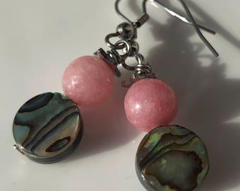 Beaded Gemstone Earrings / Abalone Earrings