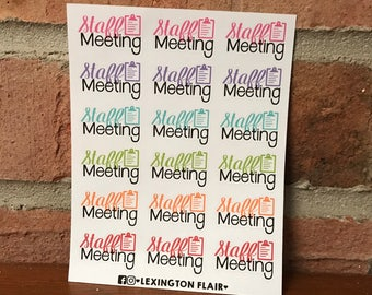 Staff Meeting Planner Stickers for Happy Planner Mini, ECLP and calendars