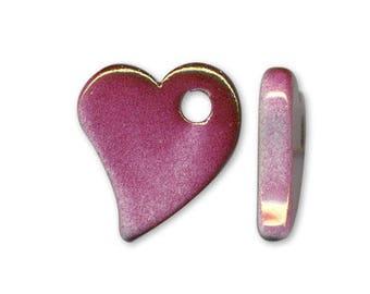 1 heart pendant with handmade ceramic pink 22x19mm