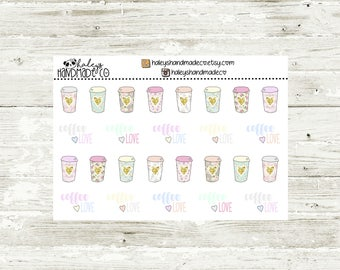Floral & Gold Glitter Coffee Love Stickers