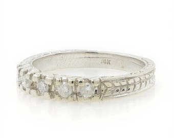 Super Sale Ladies Vintage Classic Estate 14K White Gold Diamond Ornate Ring Band - 0.25CTW