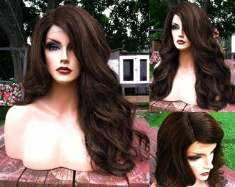 Brown Lace Front Wig // Heat SAFE + Long & Curly w/ Baby Hair // Ashy Brunette Cosplay Wig // Fake Part Wavy Wig for Chemo , Everday