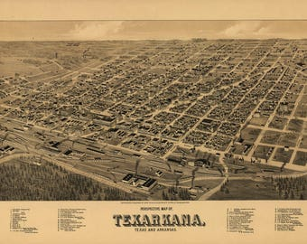 Texarkana, Texas and Arkansas Panoramic Map dated 1888. This print is a wonderful wall decoration for Den, Office, Man Cave or any wall.