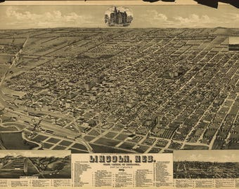 Lincoln Mon Panoramic Map dated 1884. This print is a wonderful wall decoration for Den, Office, Man Cave or any wall.