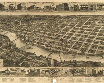Columbus GA dated 1887. This print is a wonderful wall decoration for Den, Office, Man Cave or any wall.